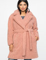 Boucle Teddy Coat Dusty Pink