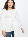 Dramatic Sleeve Faux Wrap Top True White
