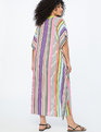 Printed  Maxi Kimono Coverup TROPICAL STRIPES