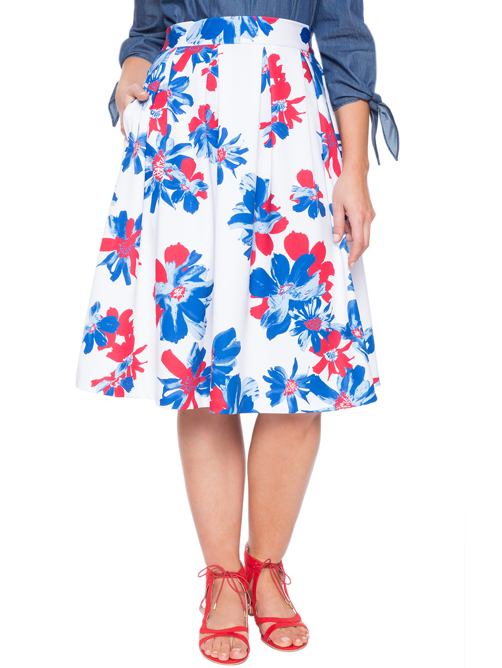 c111a47f168 Printed Midi Skirt With Pleats