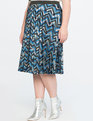 Chevron Print Midi Skirt Blue + Silver Chevron