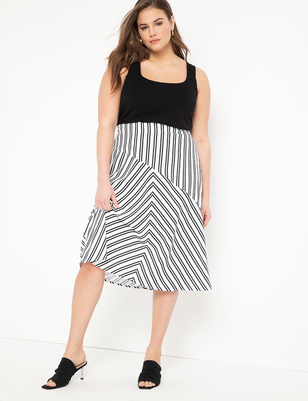 Opposing Stripes Midi Skirt