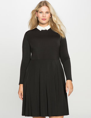 Collared Long Sleeve Fit and Flare Dress
