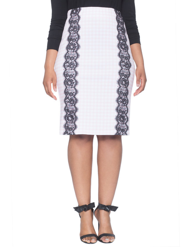 Gingham Lace Inset Pencil Skirt