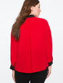 Colorblocked Button Down Top ENGINE RED W/ BLACK