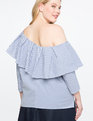 Pinstripe Ruffle One Shoulder Top Blue/White