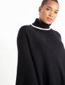 Asymmetrical Sweater Poncho Black + White