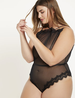Mesh Bodysuit with Eyelash Lace Trim