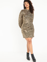 Mock Neck Sequin Dress With Puff Sleeve Gold