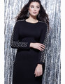 Embellished Sleeve Dress Totally Black with Pearl Embellishment