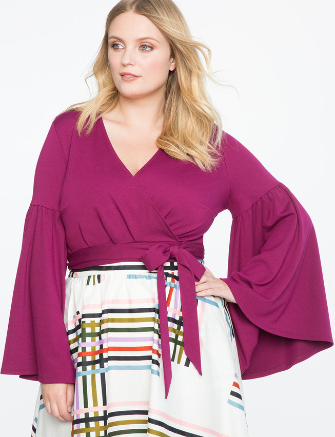 V-Neck Bell Sleeve Wrap Top