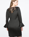 Flare Sleeve Dress with Lace Back Detail BLACK