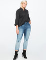 Button Cuff High Low Top TOTALLY BLACK