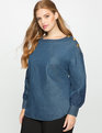 Lace Sleeve Chambray Top