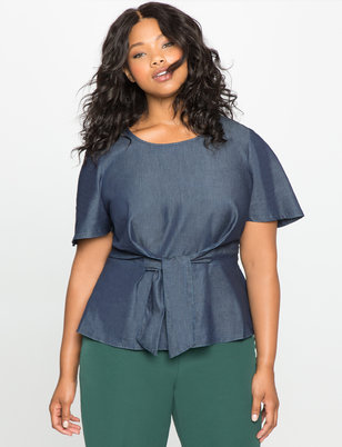 Flare Sleeve Tie Front Chambray Top
