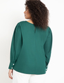 Puff Sleeve Top with Pearl Details Trekking Green