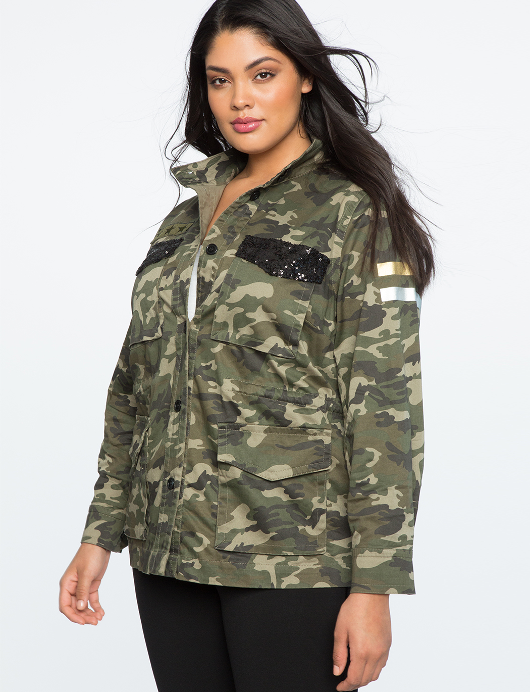 1b61c10674dee Camo Sequin Jacket | Women's Plus Size Coats + Jackets | ELOQUII