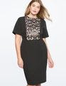 Sequin Lace Bodice Dress TOTALLY BLACK/NUDE
