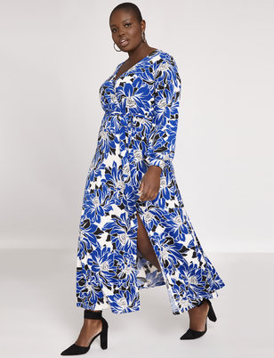 Printed Wrap Maxi Dress