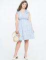 Fit and Flare Dress with Pleated Collar blue + white stripe