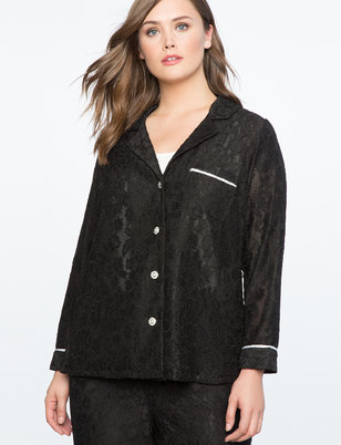 Lace Button Up Top with Piping