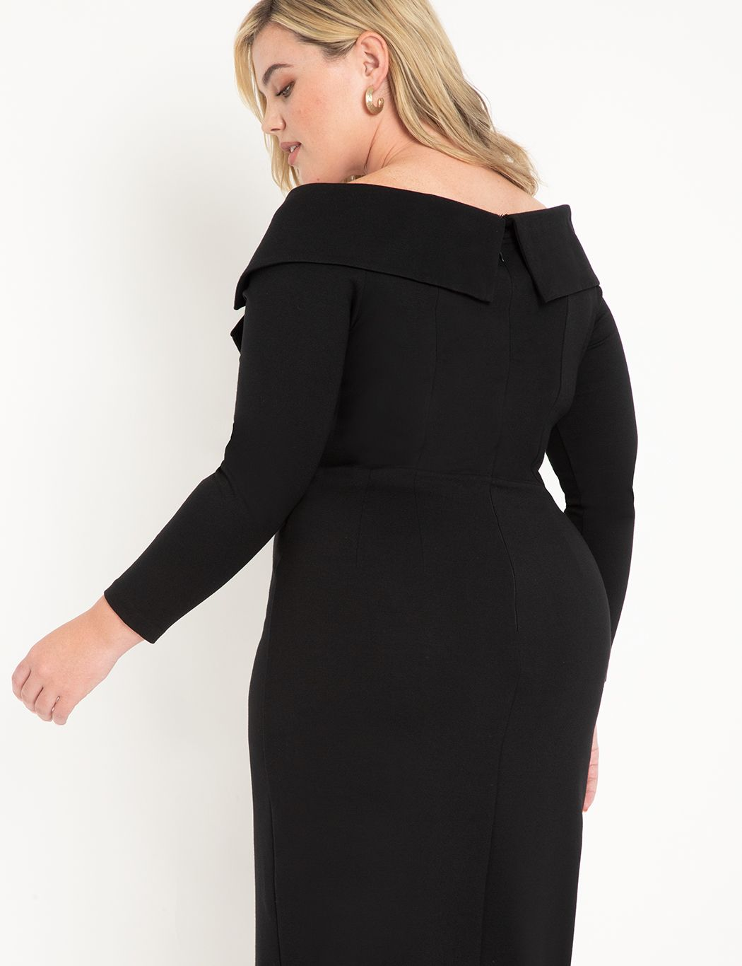 Portrait Neckline Collared Dress