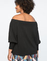 Off the Shoulder Puff Sleeve Top Totally Black