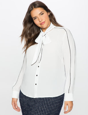 Tie Neck Blouse with Contrast Piping