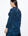 Mock Neck Dress with Asym Skirt Deep Blue with Navy Velvet
