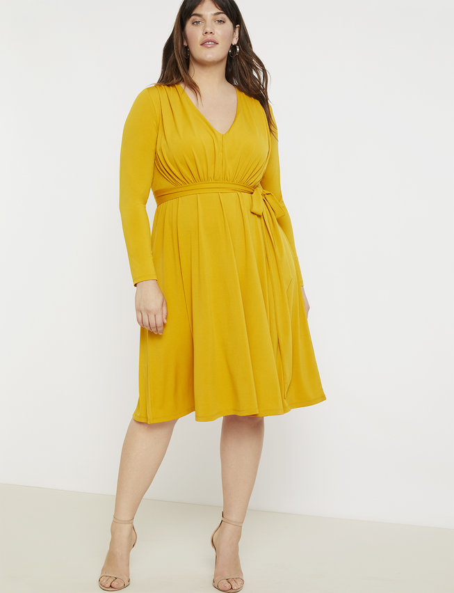 Gathered Waist V-Neck Dress