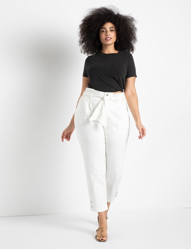 High Waisted Jeans with Snap Hem Detail