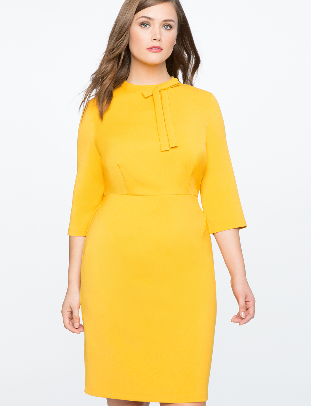 Structured Work Dress with Bow Detail | Women\'s Plus Size Dresses | ELOQUII