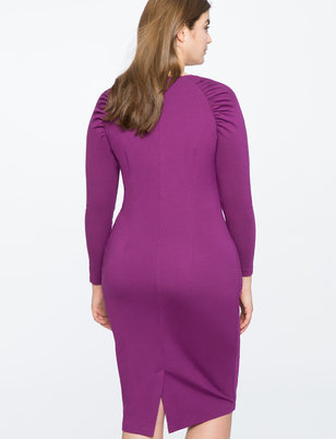Gathered Sleeve Fitted Dress