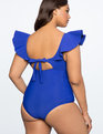One-Piece Swimsuit with Ruffle Shoulder FLAG BLUE