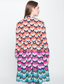 Long Sleeve Printed Fit and Flare Dress Multi-Chevron Print