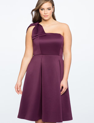 Bow One Shoulder Fit and Flare Dress