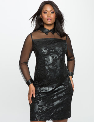 Floral Faux Leather and Mesh Dress