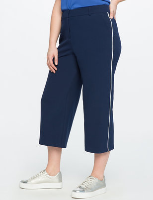 Contrast Trim Cropped Pant