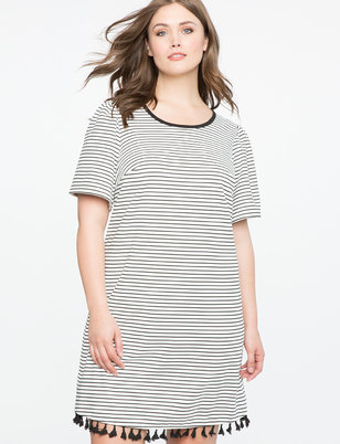 Striped Tee Dress with Tassel Hem