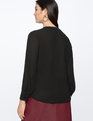 Contrast Mandarin Collar Blouse Totally Black with Soft White Trim