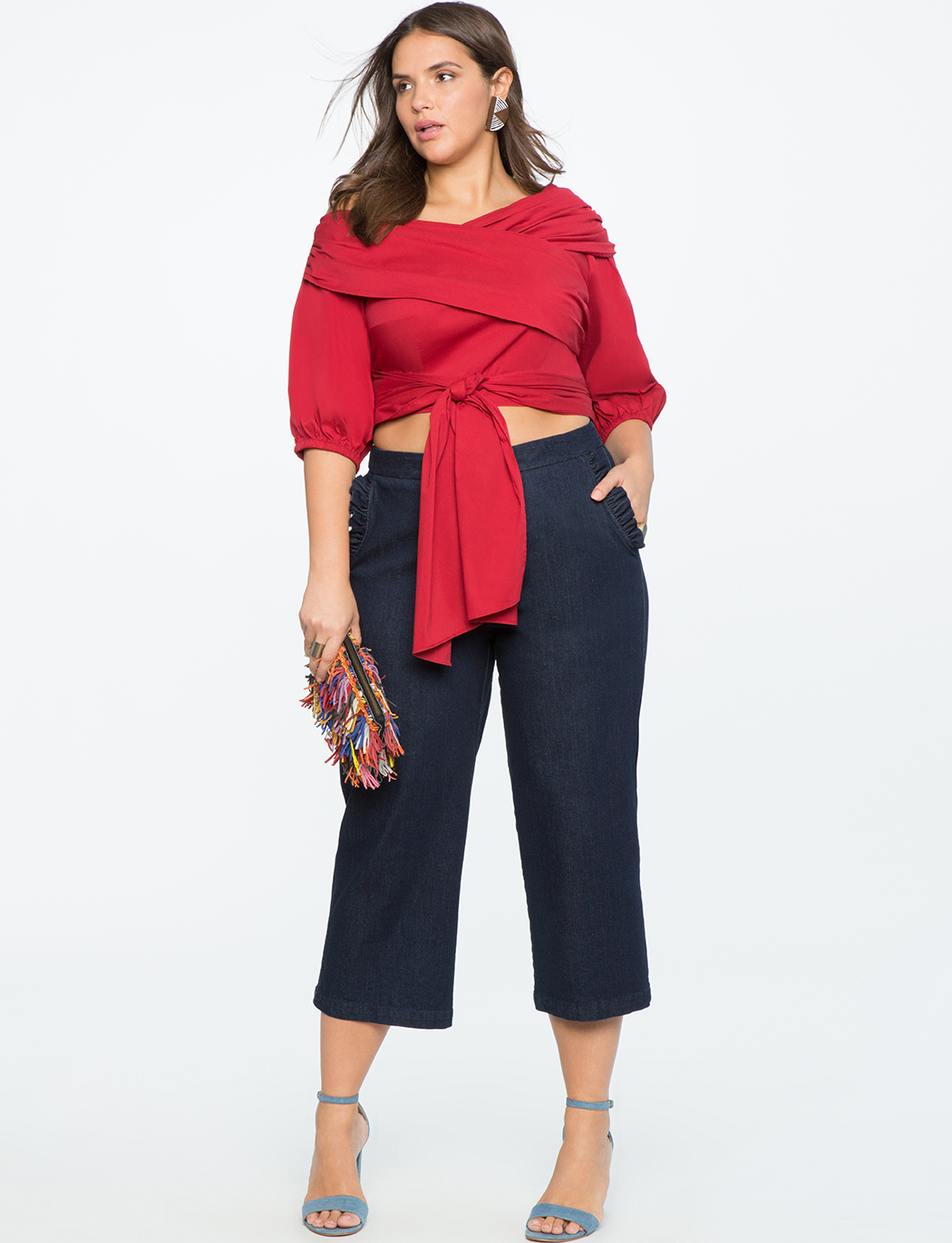 Wrap Front Tie Top with Puff Sleeve