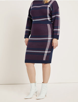 Plaid Intarsia Sweater Skirt