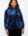 Velvet Bow Blouse NAVY