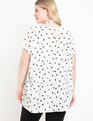 Hi-Low Cape Bow Blouse Cream and Navy Dot