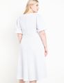 Puff Sleeve Fit and Flare Dress True White