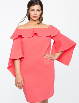 Flounce Sleeve Off the Shoulder Dress