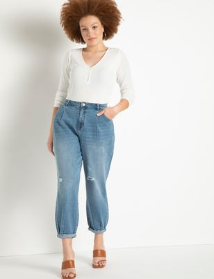 Pleat Front Relaxed Jeans with Roll Cuff
