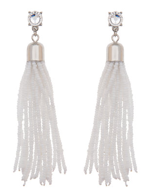 Gem Stud Beaded Tassel Earring