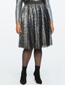 Textured Pleated Skirt Black + Silver