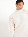 Turtleneck Puff Sleeve Sweater Dress Off White
